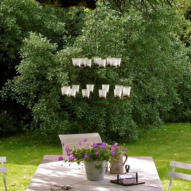 Tea Light Chandelier - Part of 10 Design Objects to Use in an Urban Garden (Great Article with Photos)