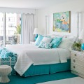 Turquoise and white guest room.
