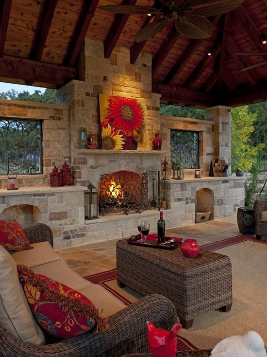 30 impressive patio design ideas the home touches for Attractive patio stone fireplace designs