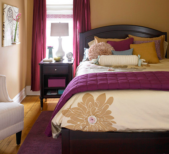 Warm color schemes for every room 18 photos the home Purple and gold bedrooms