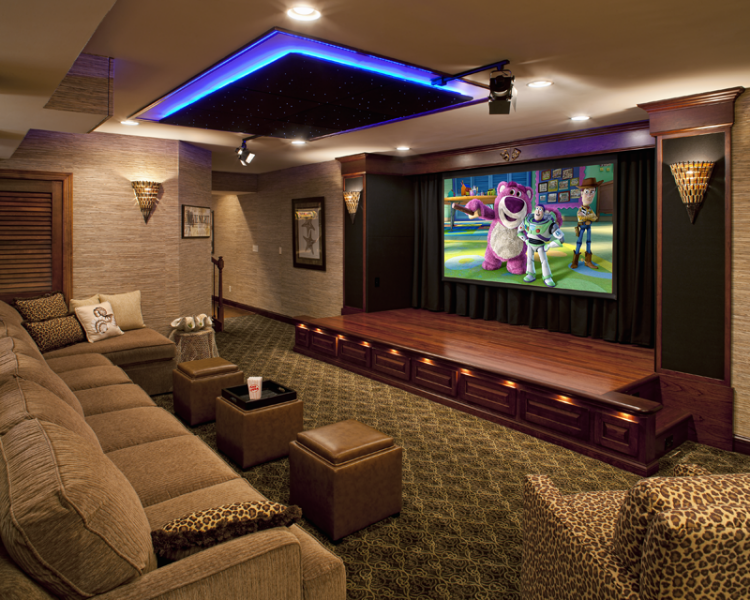 20 theatre room design ideas the home touches for What size tv do i need for a 12x15 room