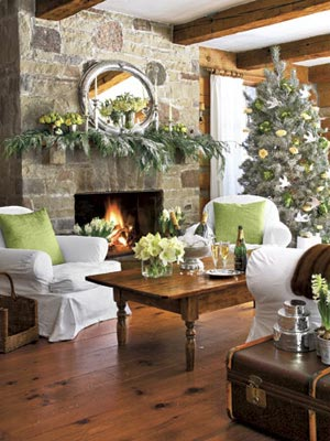 Holiday Decorating With Greenery and Whites.