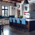 Kitchen Island with blue Leather Chairs