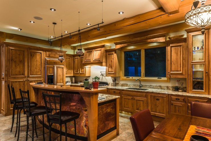 Log home kitchen the home touches for Log home kitchen designs
