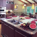 Cherry Kitchen with Curvaceous Island
