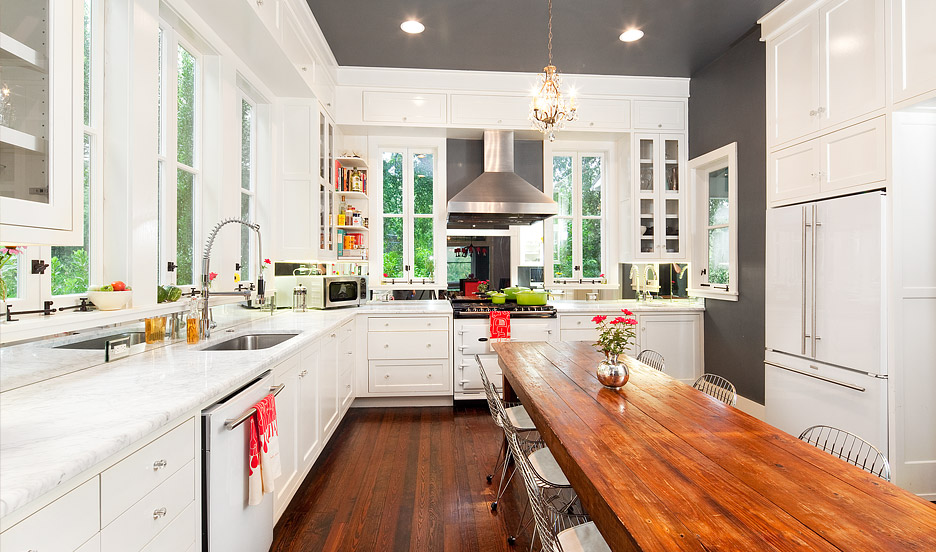 White Kitchen Orange Accents kitchen remodel – keeping the historical structure of the home