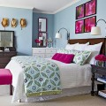 Colorful Bedroom with Sky Blue, White, And Fushcia