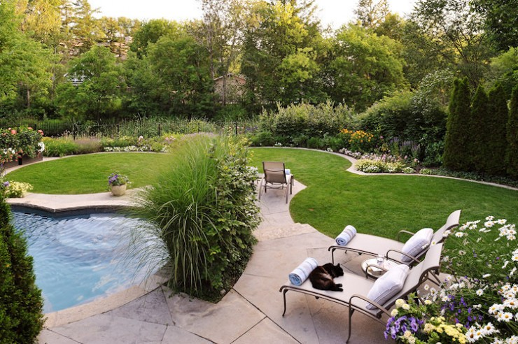 Backyard with Pool And Gardens