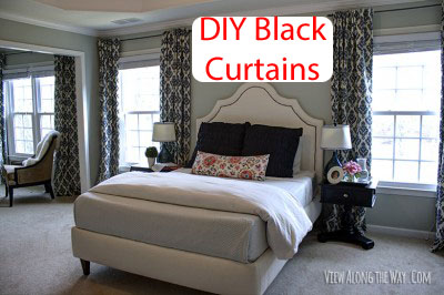 Bedroom Curtains black bedroom curtains : Spice up a Bedroom with DIY Lined Black Tab Curtains- Step by Step ...