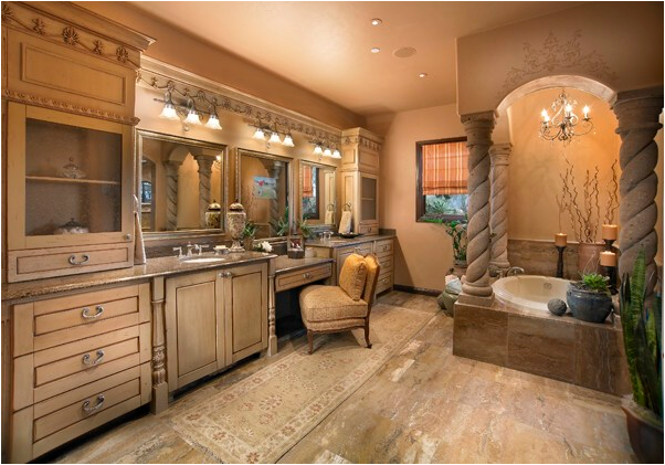 what do you think of this 38 luxury tuscan bathroom design gallery the home touches. Black Bedroom Furniture Sets. Home Design Ideas